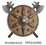 wooden shield and two crossed...   Shutterstock . vector #709316584
