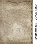 old treasure map vertical... | Shutterstock . vector #709317550
