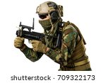us marine corps soldier on... | Shutterstock . vector #709322173