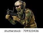 soldier on black background.... | Shutterstock . vector #709323436