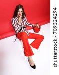 fashion portrait of beautiful... | Shutterstock . vector #709324294