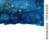 watercolor night sky background ... | Shutterstock . vector #709325233