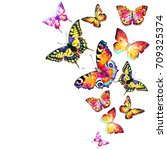 beautiful color butterflies set ... | Shutterstock . vector #709325374