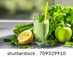 glass of green healthy juice... | Shutterstock . vector #709329910