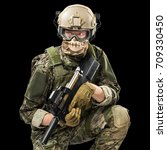 male in uniform of tactical... | Shutterstock . vector #709330450