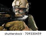 male in uniform of tactical... | Shutterstock . vector #709330459