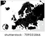 europe black map. no text....   Shutterstock .eps vector #709331866