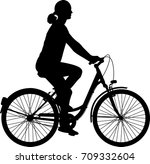 young woman riding bicycle... | Shutterstock .eps vector #709332604
