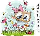 cute cartoon owl on a meadow... | Shutterstock .eps vector #709334644