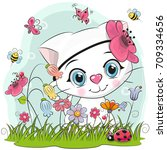 Stock vector cute cartoon kitten girl on a meadow with flowers and butterflies 709334656