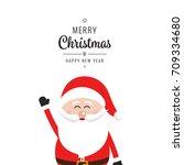 santa claus wave merry... | Shutterstock .eps vector #709334680
