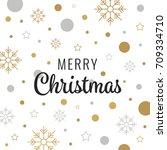 merry christmas gold lettering... | Shutterstock .eps vector #709334710