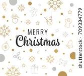 merry christmas gold lettering... | Shutterstock .eps vector #709334779