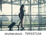 asia businesswoman on commute... | Shutterstock . vector #709337134