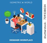 colored 3d isometric freelance...   Shutterstock .eps vector #709338034