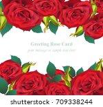 red roses flower invitation...   Shutterstock .eps vector #709338244