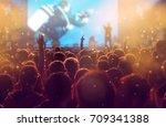 crowd at concert   cheering...   Shutterstock . vector #709341388