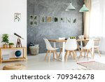 small wooden table with... | Shutterstock . vector #709342678