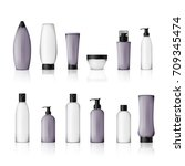 realistic cosmetic bottles on... | Shutterstock .eps vector #709345474