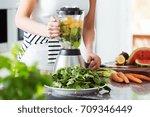 vegetarian preparing vegan... | Shutterstock . vector #709346449