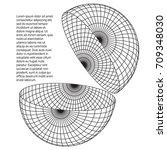 wireframe mesh hemisphere shell.... | Shutterstock .eps vector #709348030