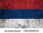 flag of the serbia against the... | Shutterstock . vector #709350550