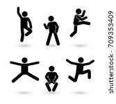 stick figure happiness  freedom ... | Shutterstock .eps vector #709353409