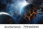 abstract planet with huge... | Shutterstock . vector #709360444