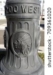 Small photo of Base of lamp post showing native American chief in Salt Lake City, UT