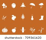 white autumn icons on brown... | Shutterstock .eps vector #709361620