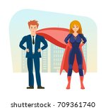 businessman and superwoman is a ... | Shutterstock .eps vector #709361740