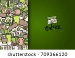 makeup cartoon doodle backdrop... | Shutterstock .eps vector #709366120