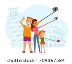 father  mother and kid making... | Shutterstock .eps vector #709367584