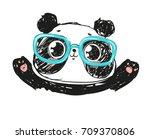 cute panda bear  vector... | Shutterstock .eps vector #709370806