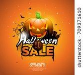 halloween sale vector...   Shutterstock .eps vector #709371610