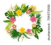 vector illustration of a wreath ... | Shutterstock .eps vector #709373500