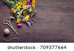 bouquet of wild flowers... | Shutterstock . vector #709377664