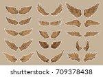hand drawn wing set.sticker... | Shutterstock .eps vector #709378438