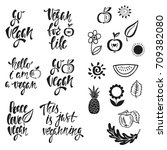vegan. vector set of hand drawn ... | Shutterstock .eps vector #709382080