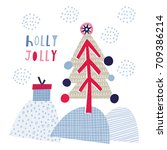 greeting card  holly jolly....   Shutterstock .eps vector #709386214