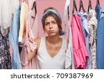 depressed female standing near... | Shutterstock . vector #709387969