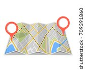 map with gps navigation and... | Shutterstock .eps vector #709391860