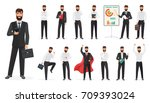 set of happy businessman... | Shutterstock .eps vector #709393024