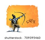 lord rama with arrow killing... | Shutterstock .eps vector #709395460