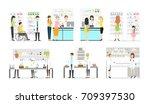 work at pharmacy laboratory set.... | Shutterstock . vector #709397530