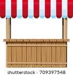 small wooden street kiosk with... | Shutterstock .eps vector #709397548