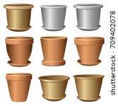 Set Of Flower Pots. Vector...