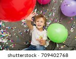 happy kid celebrating party... | Shutterstock . vector #709402768