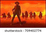 red sunset desert. thugs...   Shutterstock .eps vector #709402774