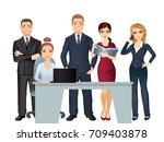meeting business people.... | Shutterstock .eps vector #709403878